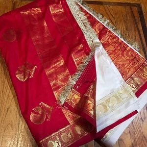 Dresses & Skirts - Beautiful white and red traditional silk Saree